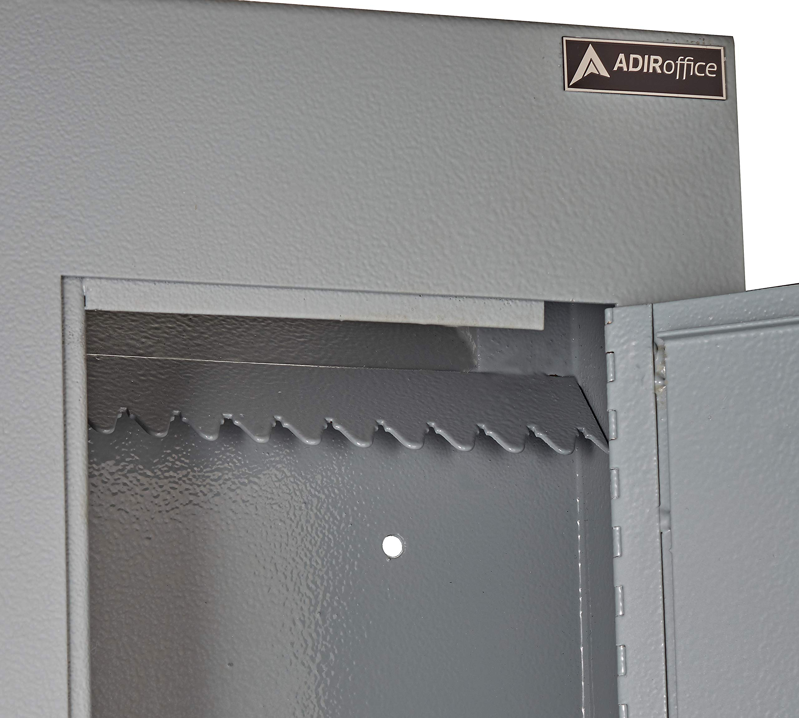 AdirOffice Through The Wall Drop Box Safe (Black/Grey/White) - Durable Thick Steel w/Adjustable Chute - Mail Vault for Home Office Hotel Apartment (Grey) by AdirOffice (Image #2)