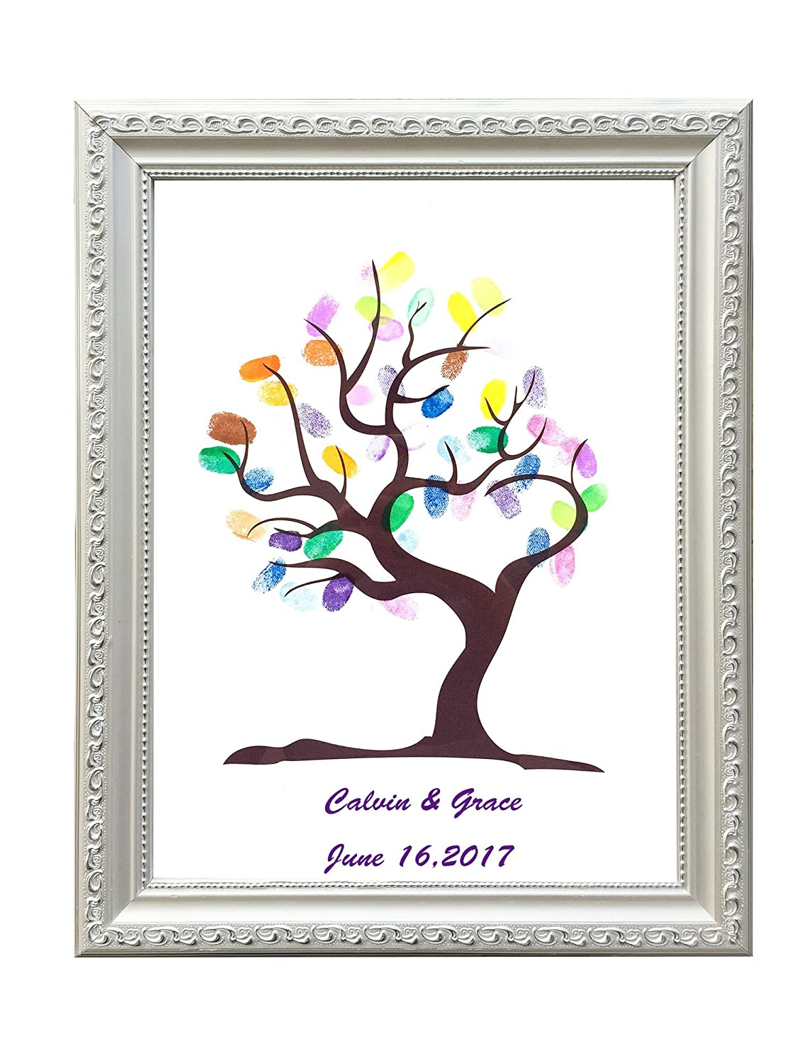 Amazon guest book diy guest book sign in sign in book amazon guest book diy guest book sign in sign in book wedding party birthday fingerprint tree with 6pcs ink pad 118x157 not include sciox Images