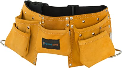 Active Kyds Real Leather Kids Tool Belt/Child's Tool Pouch for Costumes Dress Up Role Play (Brown)