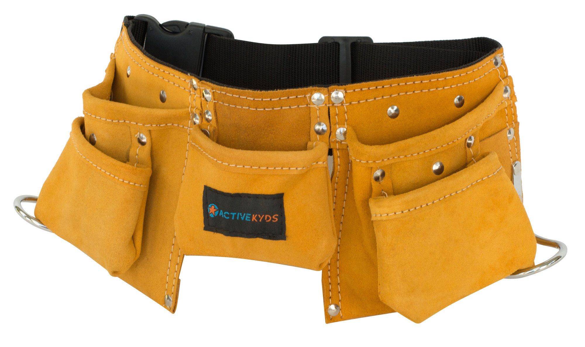 Active Kyds Real Leather Kids Tool Belt/Child's Tool Pouch for Costumes Dress Up Role Play (Brown) by Active Kyds