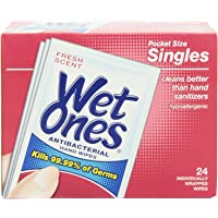 Wet Ones Antibacterial Individually Wrapped Single Wipe 24-Count