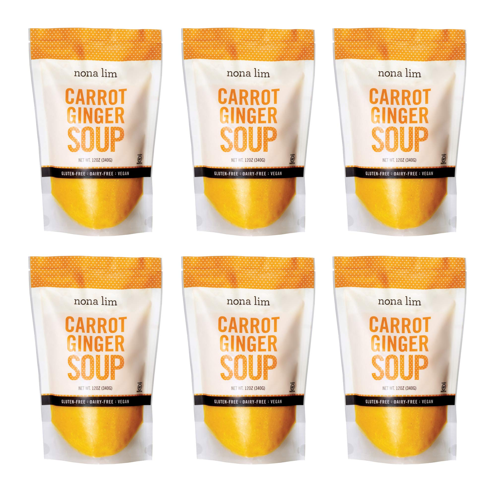 Nona Lim Carrot Ginger Soup - Vegan, Gluten Free, Dairy Free, Non GMO (12 oz., 6 Count) - Packaging May Vary by Nona Lim