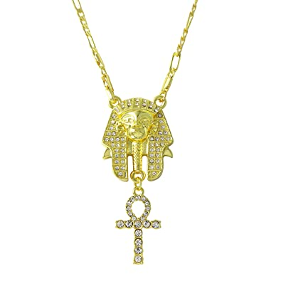 8b778acd4414f Zilver Men's Gold 18K Plated Iced Out Egyptian King TUT ANKH Pendant ...