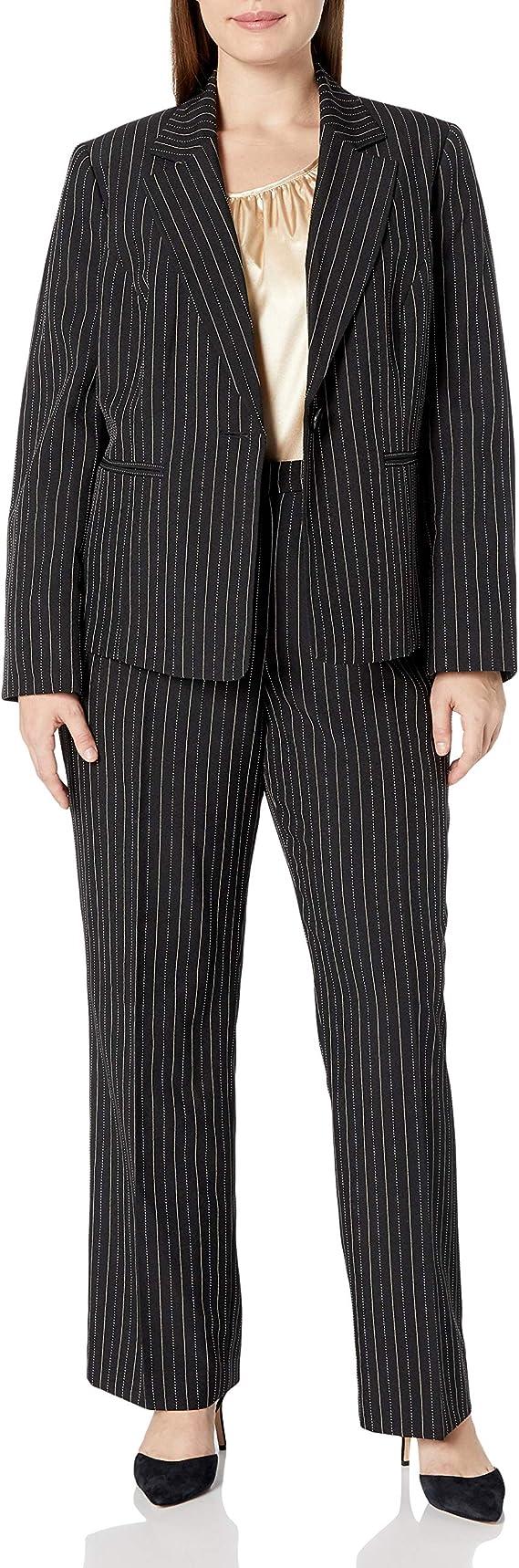 Le Suit Womens Plus Size Pinstripe 1 Button Pant Suit with Cami Le Suit Women/'s Suits 50035925-T61