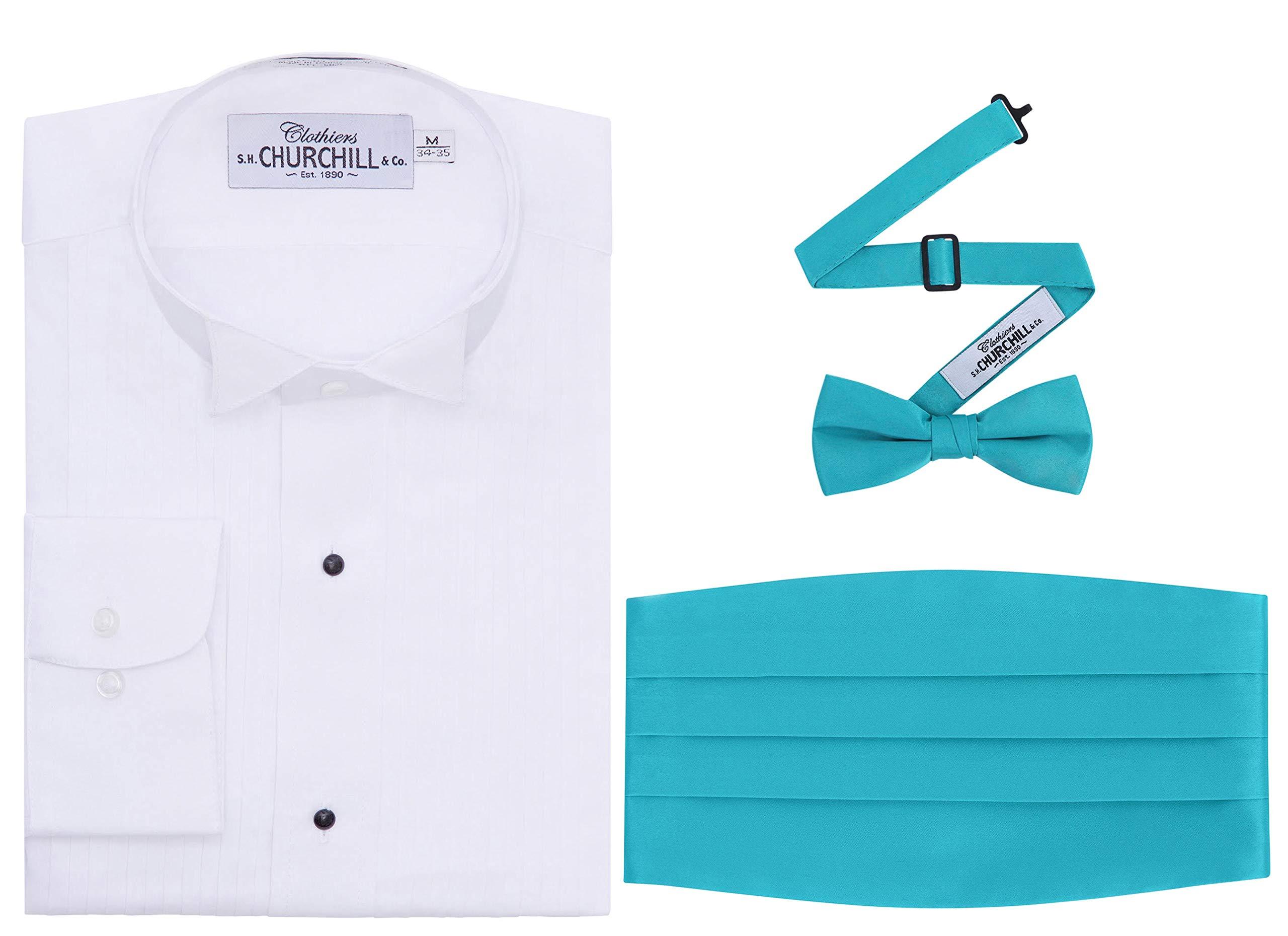 White Pleated Wing Tuxedo Shirt-L(16 Nk,35 SLV) Teal Cummerbund Bowtie by S.H. Churchill & Co.