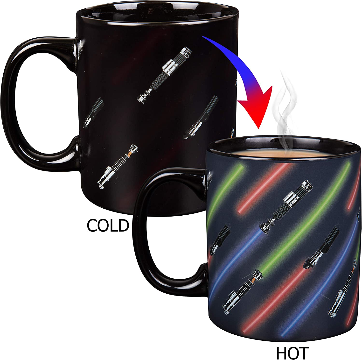 Star Wars Light Saber Heat Reveal Coffee Mug - Lightsaber Images Activate with Heat - Ceramic