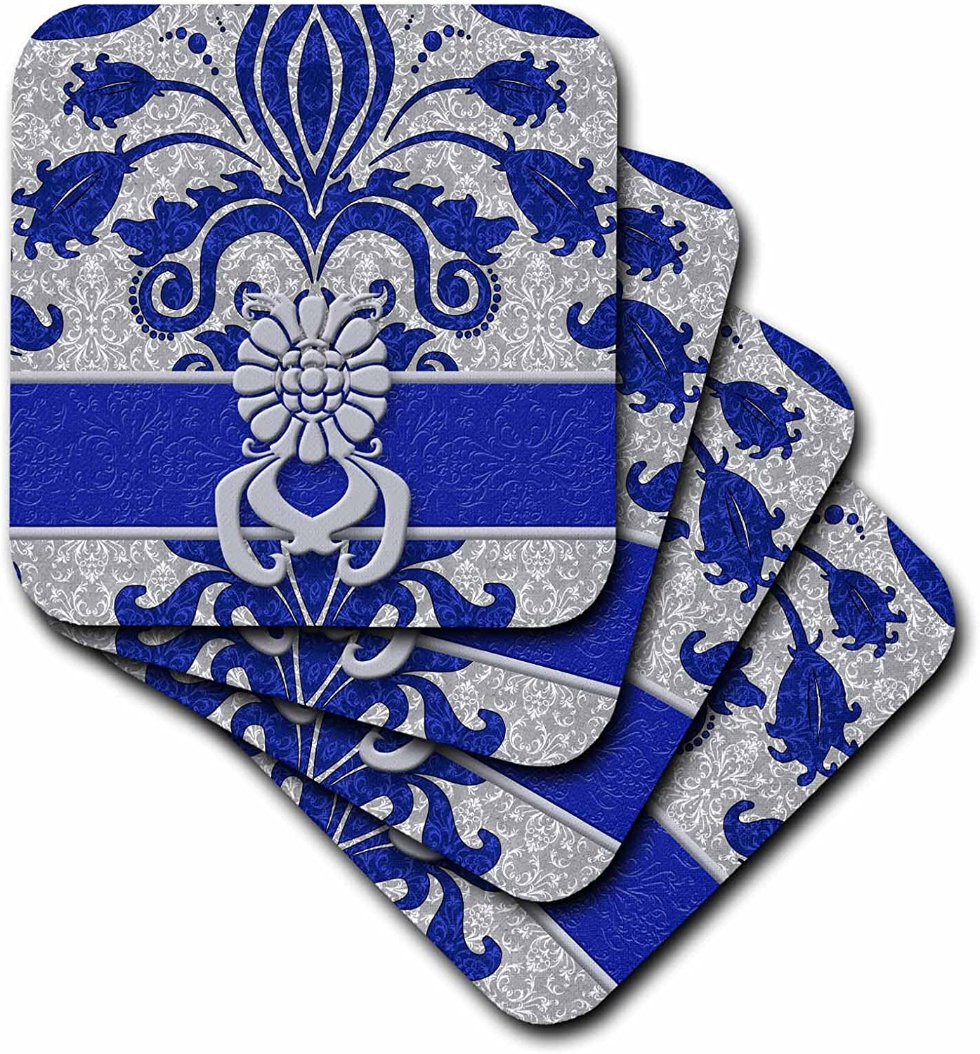 3drose Cst 15450 3 Damask Royal Blue And Silver Ceramic Tile Coasters Set Of 4 Home Kitchen
