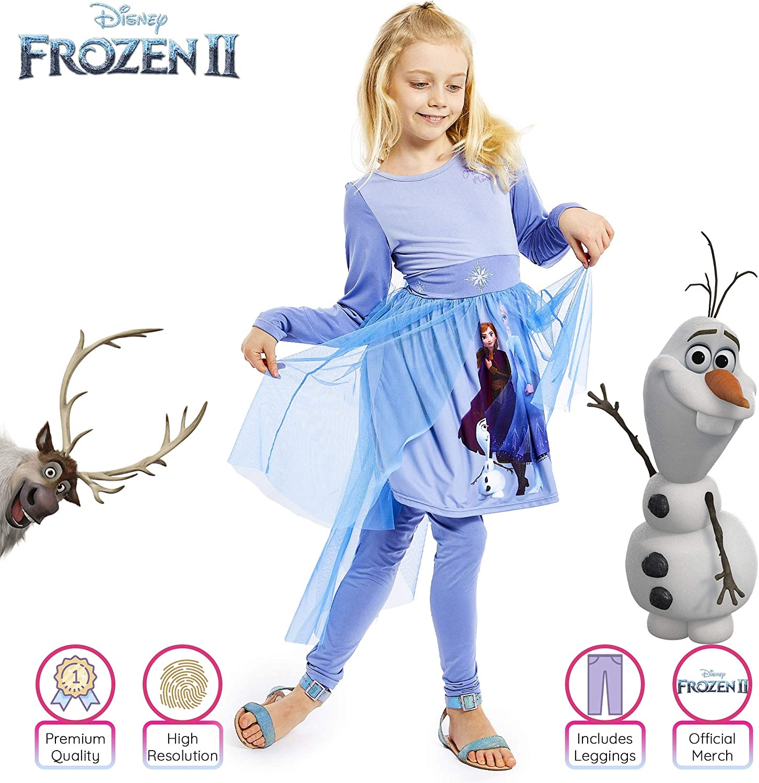 Disney Frozen 2 Princess Dress Up for Girls Fancy Dress Princess Official Anna and Elsa Costume Frozen Gifts for Girls Snow Queen Girls Dresses
