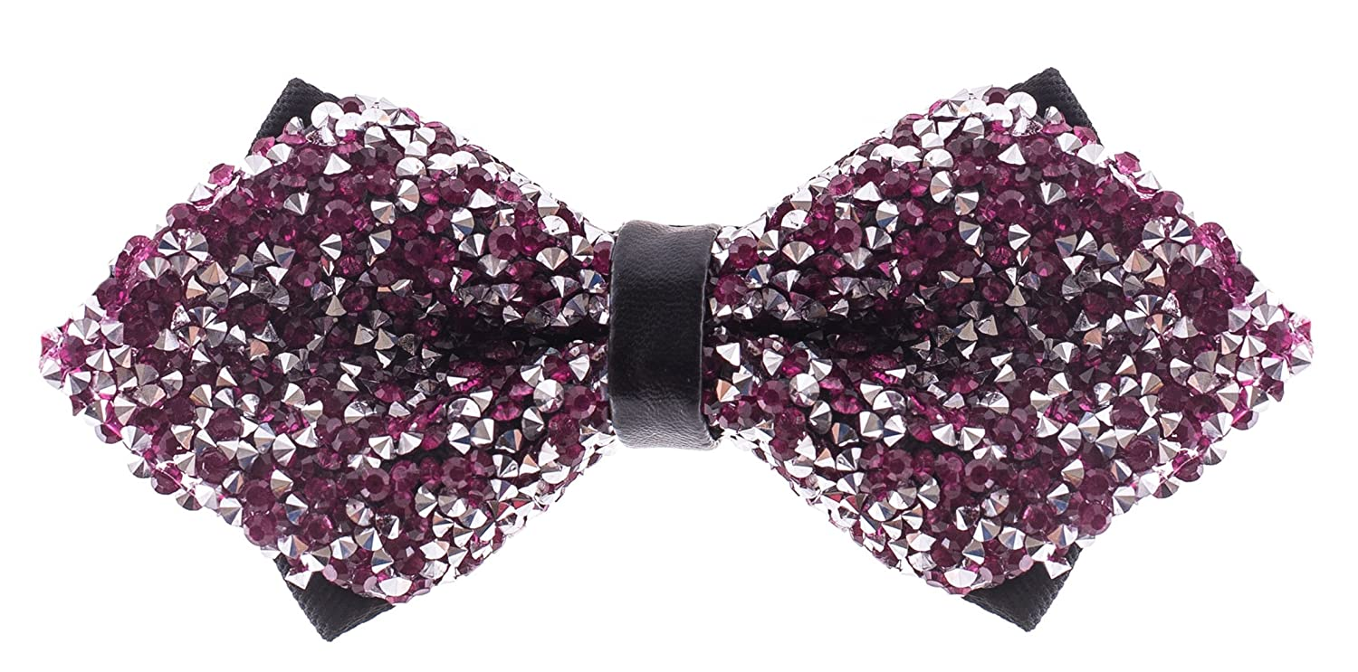 Huge Variety Colors Available Pre Tied Sequin Bowties with Adjustable Length Rhinestone Diamond Tip Bow Ties