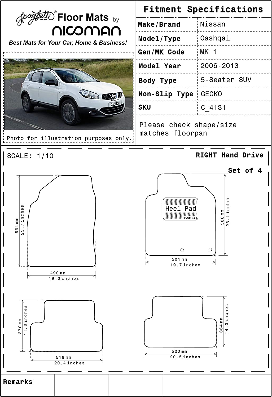 Full Set 4-Piece,Black Nicoman Spaghetti All-Weather Fully Tailored Car mats Fit【2014-2019 Qashqai 5-Seater SUV MK2】
