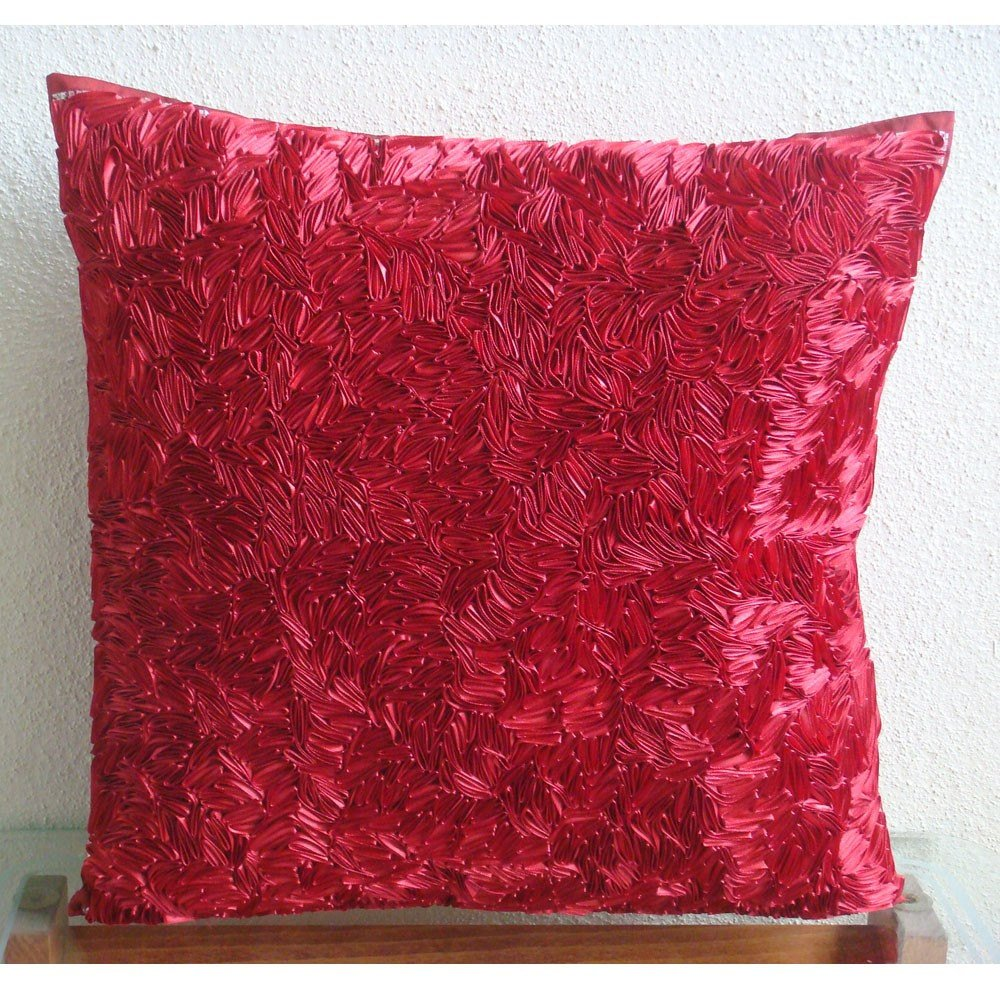 Pillow Covers 20x20 Red for Couch, Ribbon Art Work Textured Pillow Covers, 20