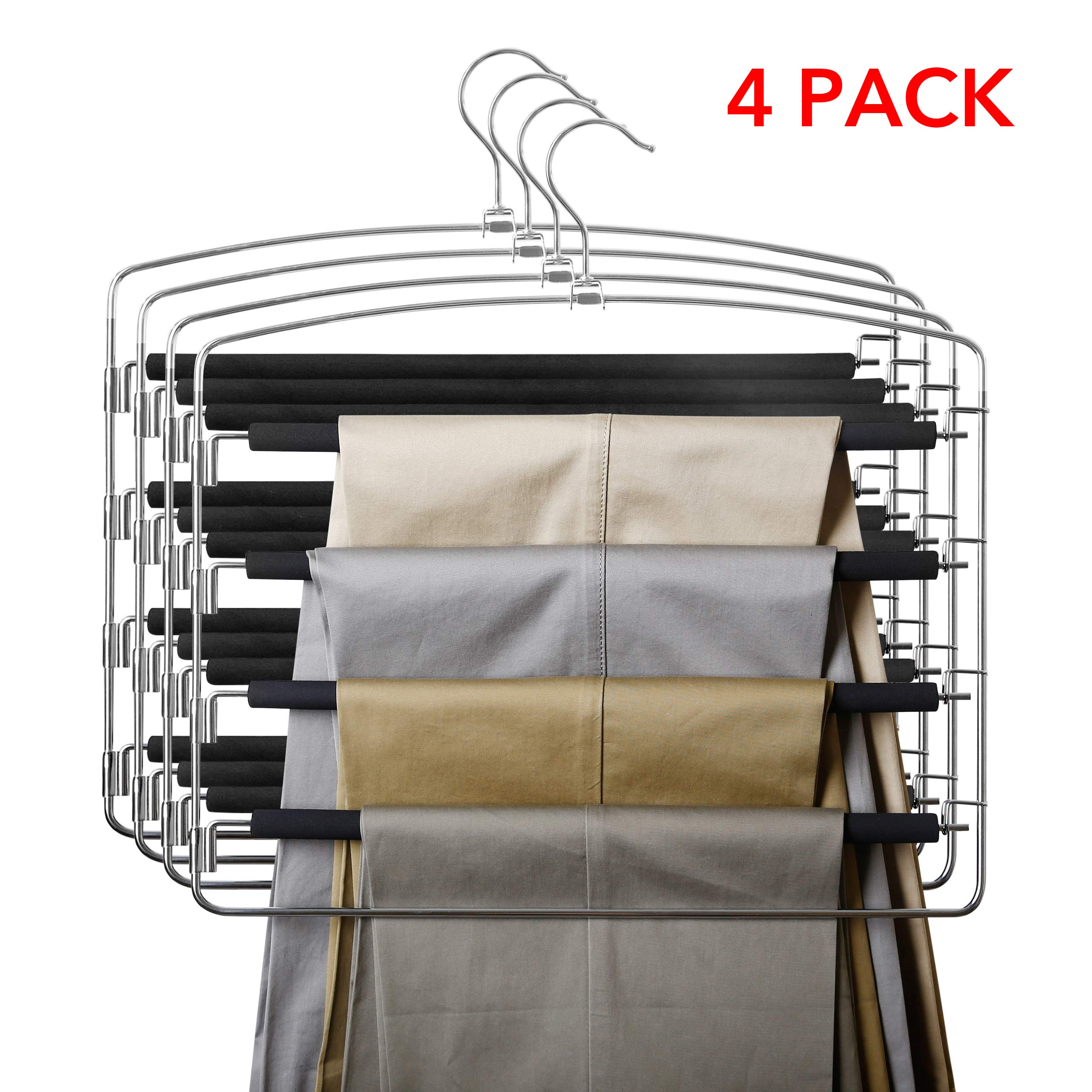 MoMA Pants Hangers (4 Pack) - Space Saving Closet Storage Organizer for Pants Jeans Trousers Scarf - Slack Hanger with Non-Slip Foam Padded Swing Arm - 16.7''H x 16''L by MoMA