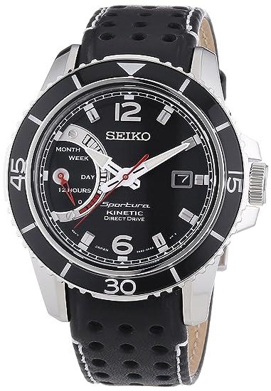 Seiko Sportura Kinetic - Reloj automático para hombre, correa de cuero color negro: Amazon.es: Relojes