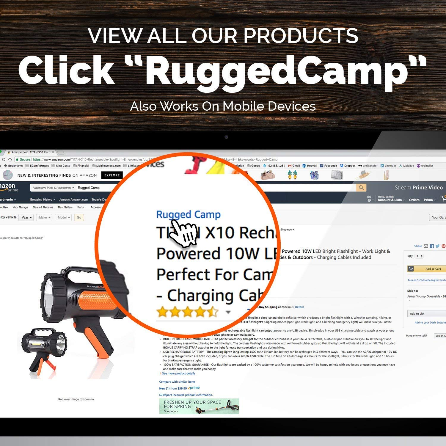 Rugged Camp Titan X10 Rechargeable Spotlight - 1000 Lumens - High Powered 10W LED Bright Flashlight - Work Light & Tripod - Perfect for Camping, Hiking, Hunting, Emergencies & Outdoors (Black/Orange) by Rugged Camp (Image #7)