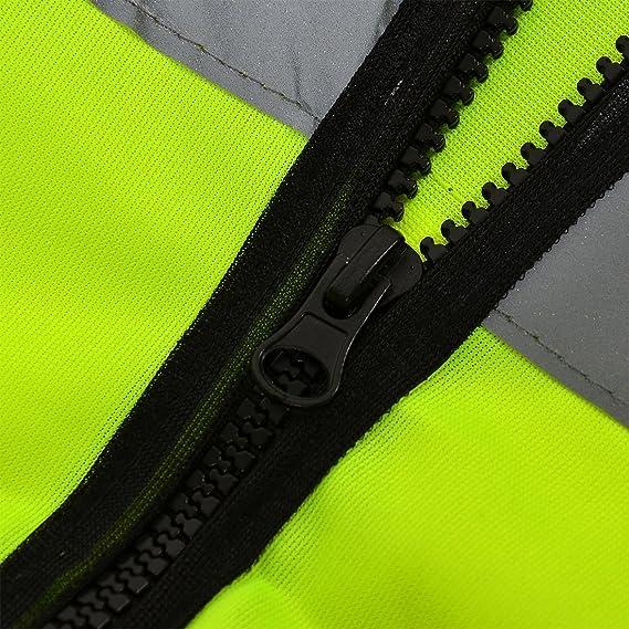 Amazon.com : eDealMax reflectante de alta visibilidad Raya empalmado frente de la cremallera de Seguridad de Tráfico de Seguridad Chaleco Chaqueta : Sports ...