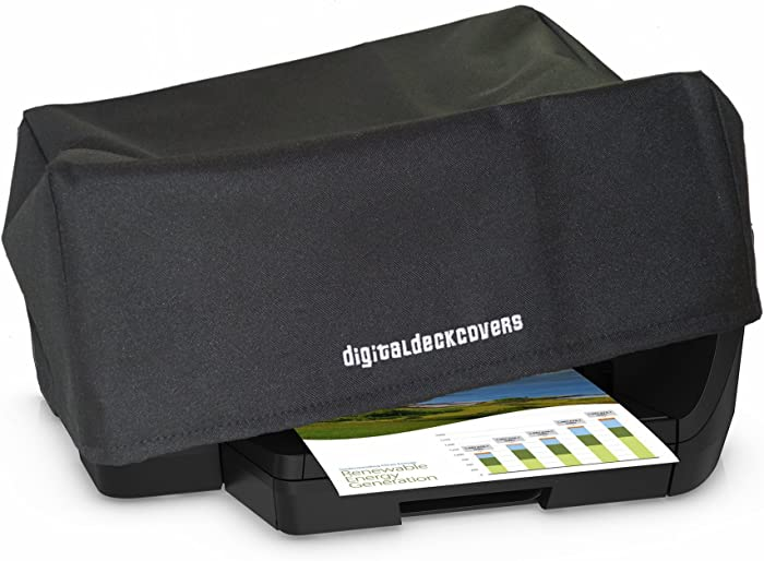 DigitalDeckCovers Printer Dust Cover & Protector for HP OfficeJet Pro 6830/6835 / 6950-6960/6962 / 6968/6970 / 6974/6975 / 6978 [Antistatic, Water Resistant, Heavy Duty Fabric, Black]