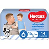 Huggies Ultra Dry Nappies, Boys, Size 6 Junior (16kg+), 14 Count