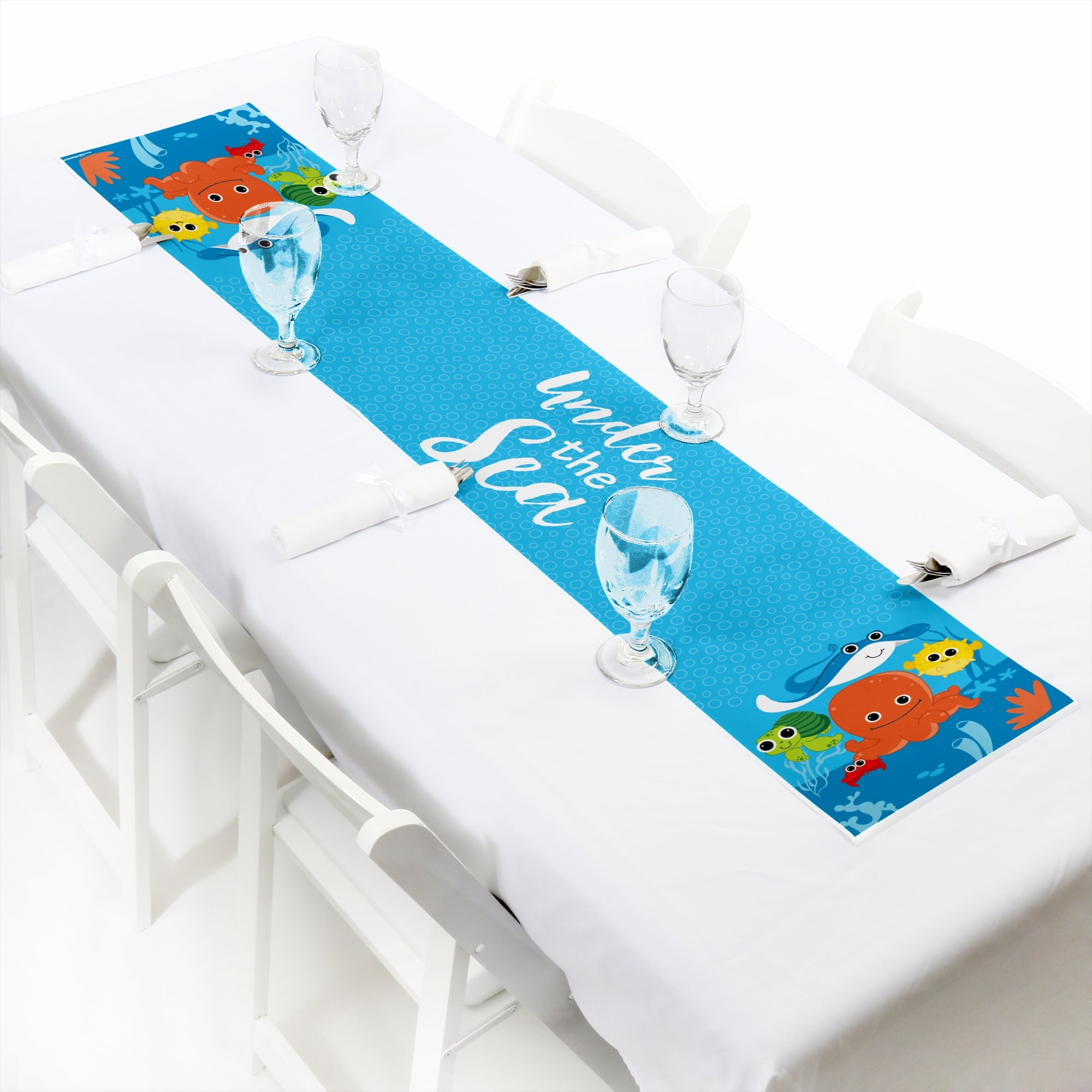 Big Dot of Happiness Under The Sea Critters - Petite Baby Shower or Birthday Party Paper Table Runner - 12'' x 60'' by Big Dot of Happiness