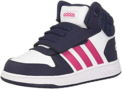 044905a3a adidas Kids' Hoops Mid 2.0 Basketball Shoe, White/Real Magenta/Trace Blue