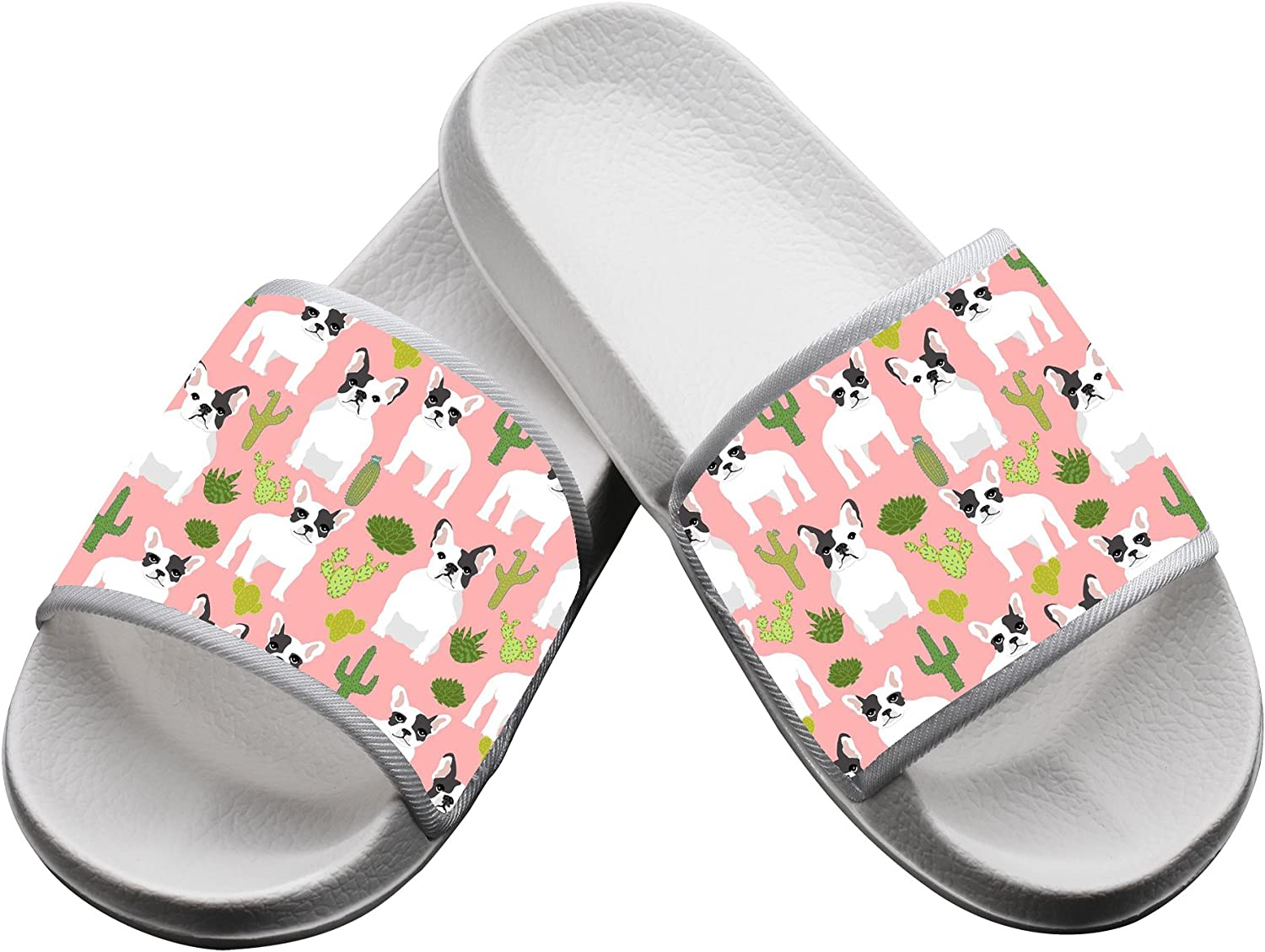 French Bulldog Cactus Summer Slippers Pool Slider Sandals for Mens Womens and Kids Indoor /& Outdoor