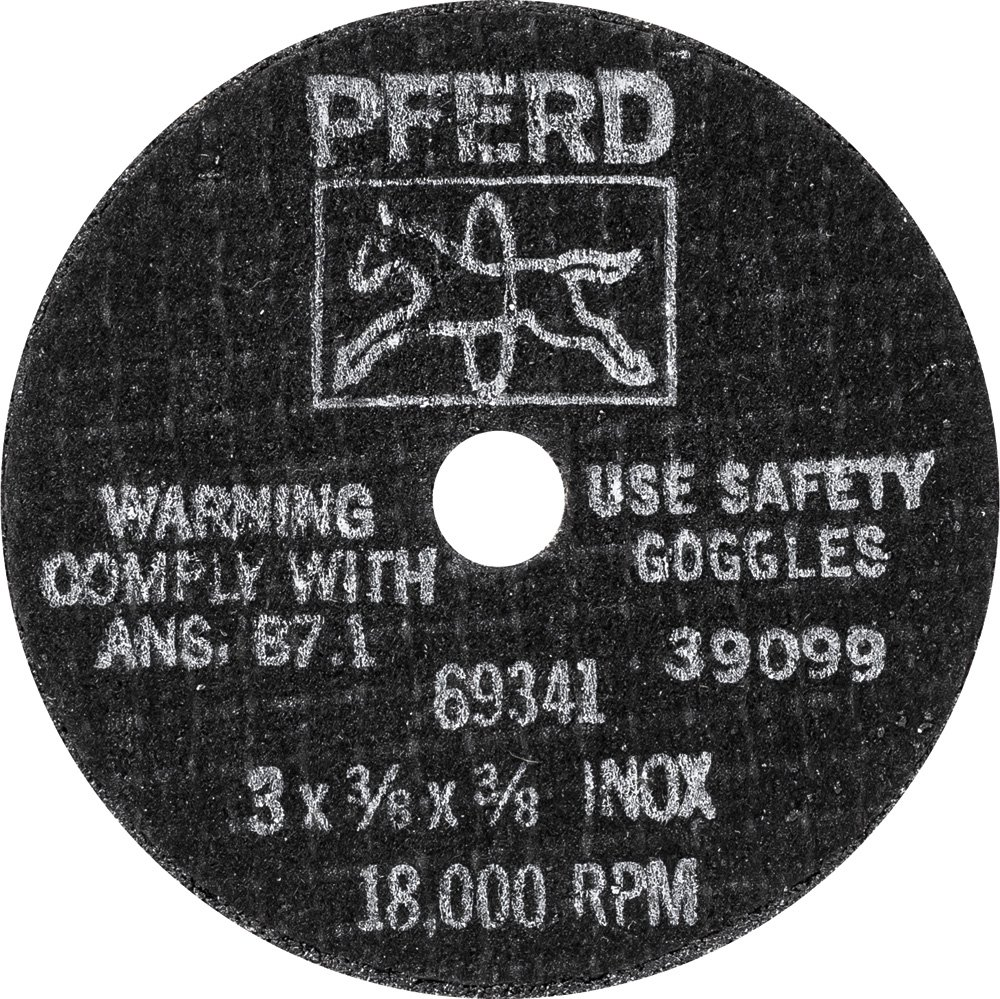PFERD 69341 Flat Type 1 Snagging Wheel, Aluminum Oxide, 3'' Diameter x 3/8'' Thick, 3/8'' Bore Size, 36 Grit, 18000 rpm (Pack of 20)