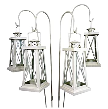 east2eden Set of 4 Cream Tea Light Garden Lanterns with Shepherds