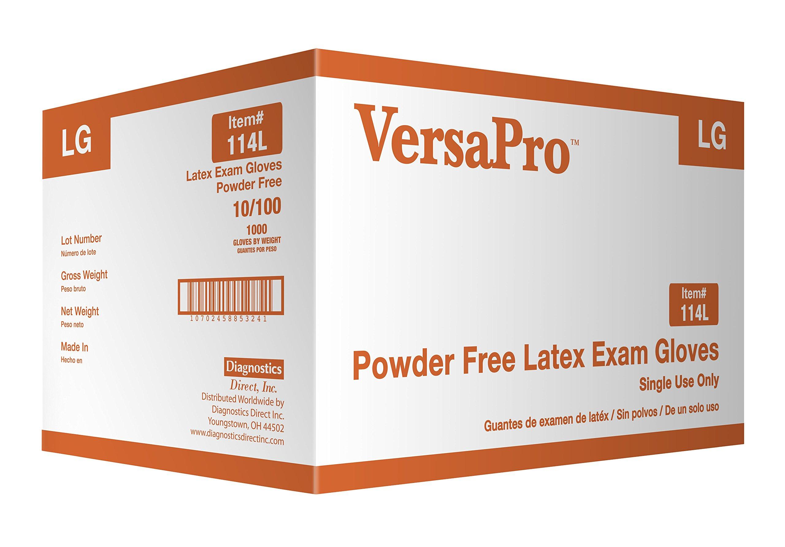 VersaPro 114CL Latex Exam Gloves Powder-Free, Large (Pack of 1000)