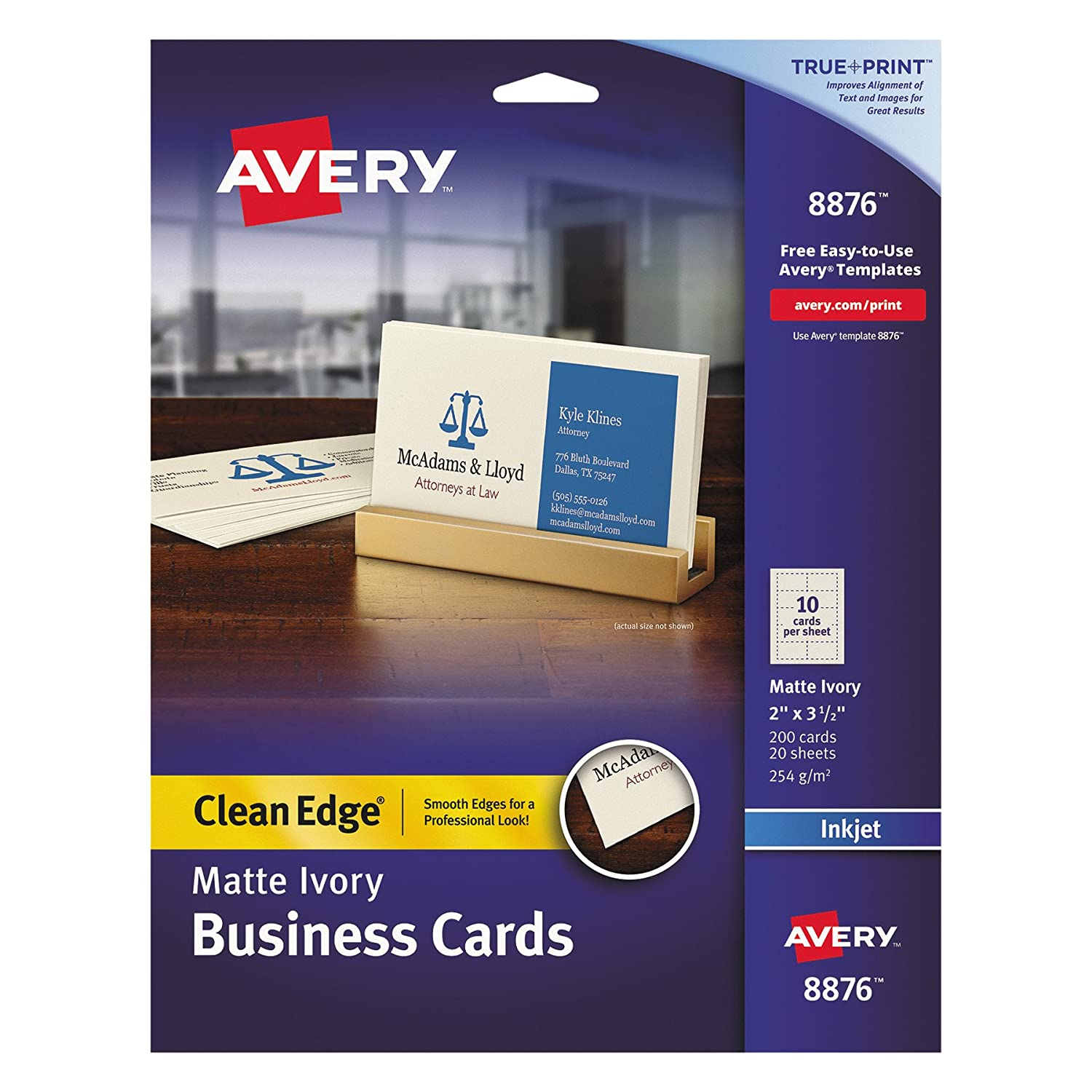 Amazon avery two side printable clean edge business cards for amazon avery two side printable clean edge business cards for inkjet printers matte ivory pack of 200 08876 business card stock office colourmoves