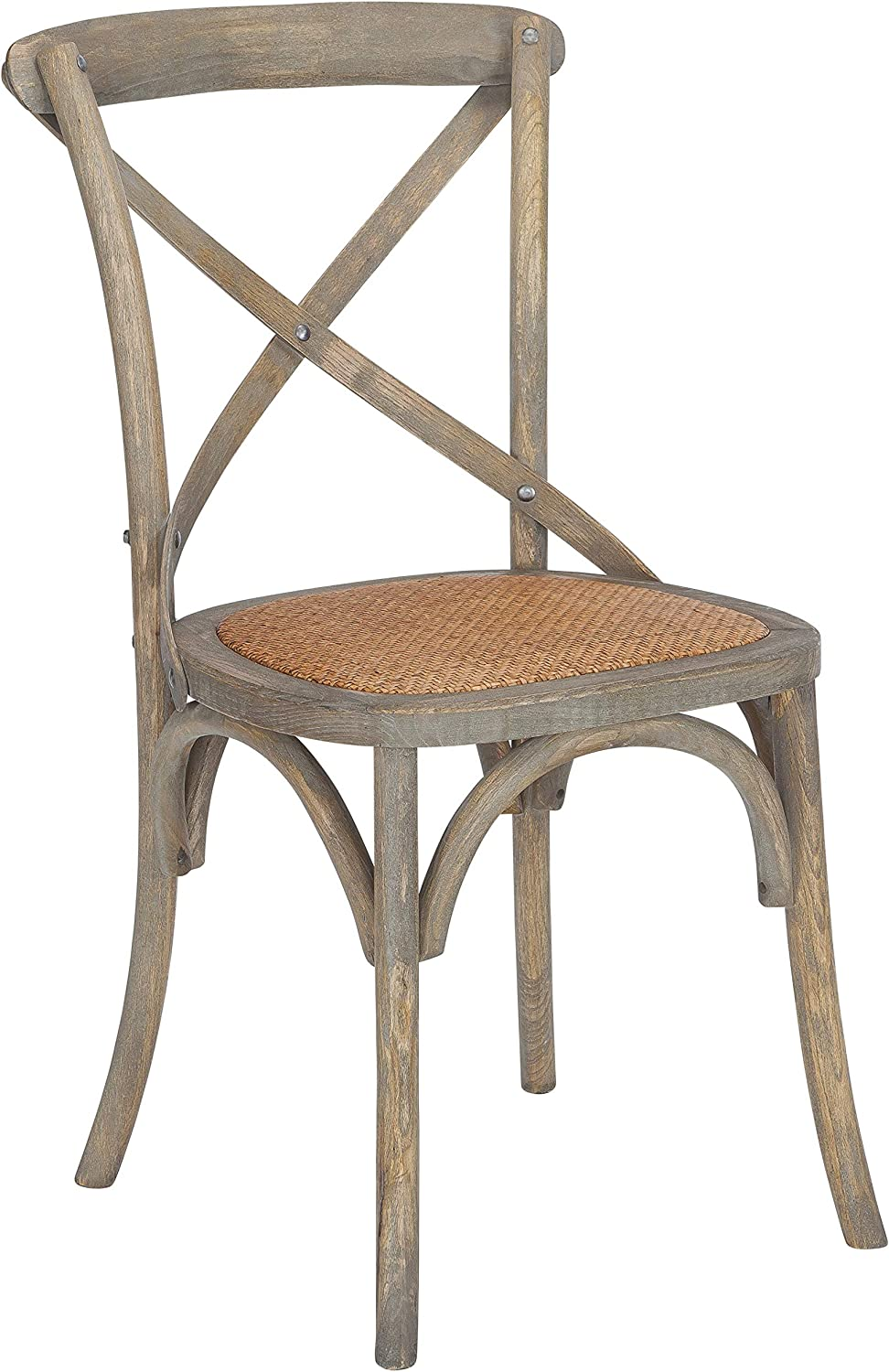 POLY BARK Poly and Bark Cafton Crossback Modern Wooden Dining Chair, Fabric Woven Seat, Fully Assembled, Weathered Oak Set of 2