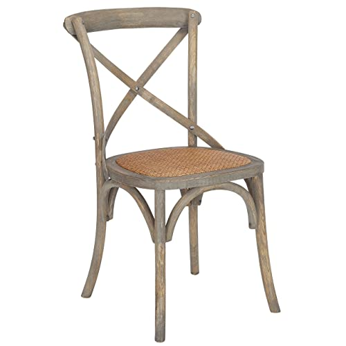 Poly and Bark Cafton Crossback Modern Wooden Dining Chair, Fabric Woven Seat, Fully Assembled, Weathered Oak