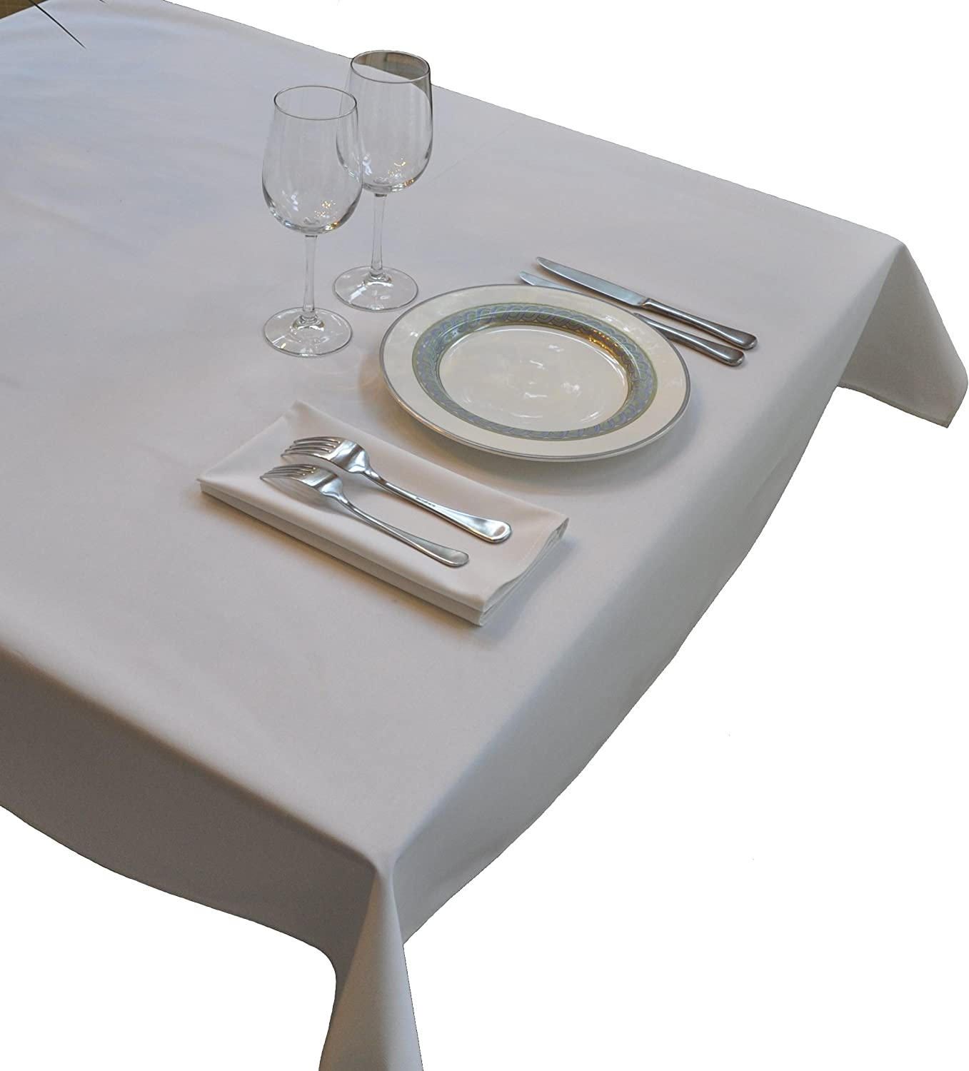 Nouvelle Legende Tablecloth - Commercial Grade 52 in. by 114 in. White
