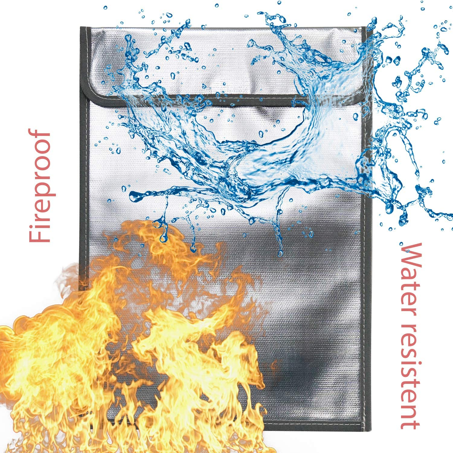 Dual-Layer Aluminum Coated Fiberglass Bag Keeps Documents and Money Safe Fireproof Envelope for Documents Large 15 X 11 Non-Itchy Fire and Waterproof Storage for Lipo Batteries