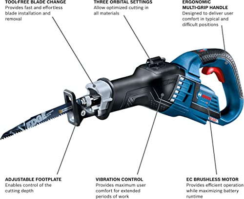 Bosch GSA18V-125N 18V EC Brushless 1-1 4 In.-Stroke Multi-Grip Reciprocating Saw Bare Tool