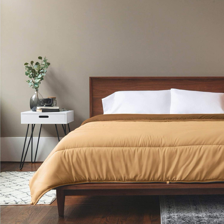 ViscoSoft Down Alternative Comforter Full/Queen Size | Reversible Microfiber Tan Duvet Cover Insert