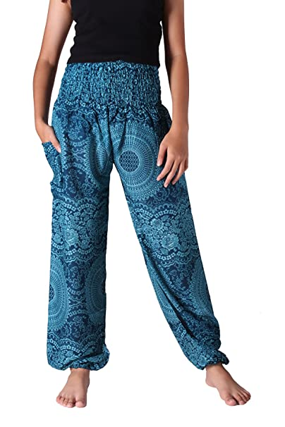 7f10322375e7c Bangkokpants Women's Boho Pants Hippie Clothes Yoga Outfits Peacock Design  One Size Fits (Blossom Blue