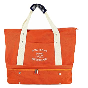 b5aae757ffab Women's Canvas Travel Tote Bag Carry On Weekend Duffel with Shoes  Compartment Overnight Bags with Trolley Sleeve (Orange)