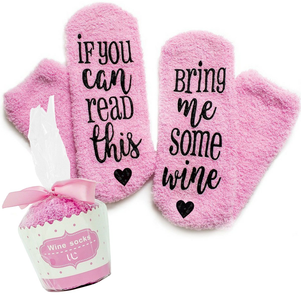 Wine Socks + Cupcake Packaging - Premium Combed Cotton ''If You Can Read This, Bring Me Some Wine'' Novelty Socks - Funny Gift For Men And Women - Perfect For Mothers Day, Birthday, and more!