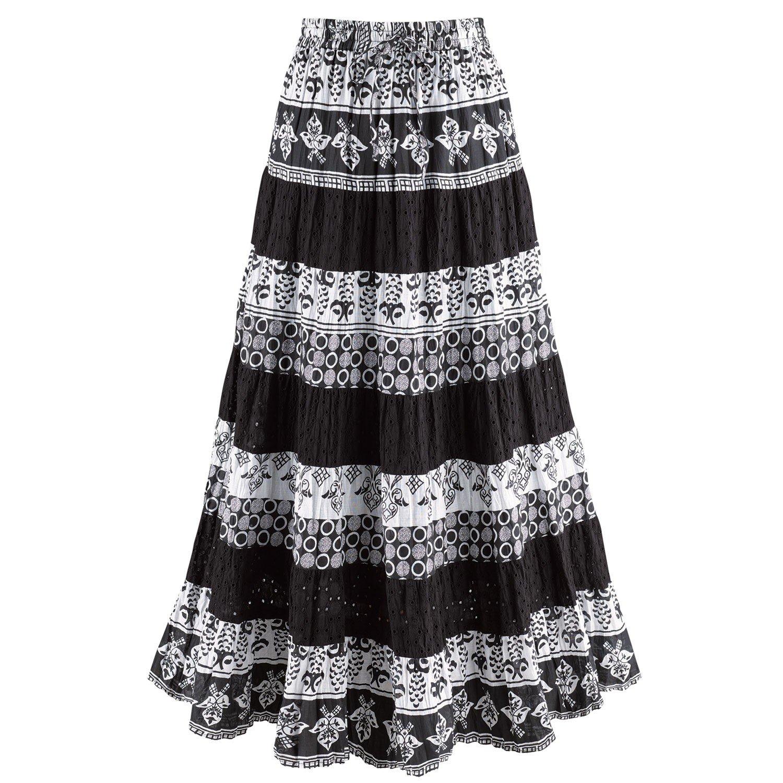 CATALOG CLASSICS Women's Black & White Tiered Eyelet Skirt - Mixed Patterns Maxi - 3X