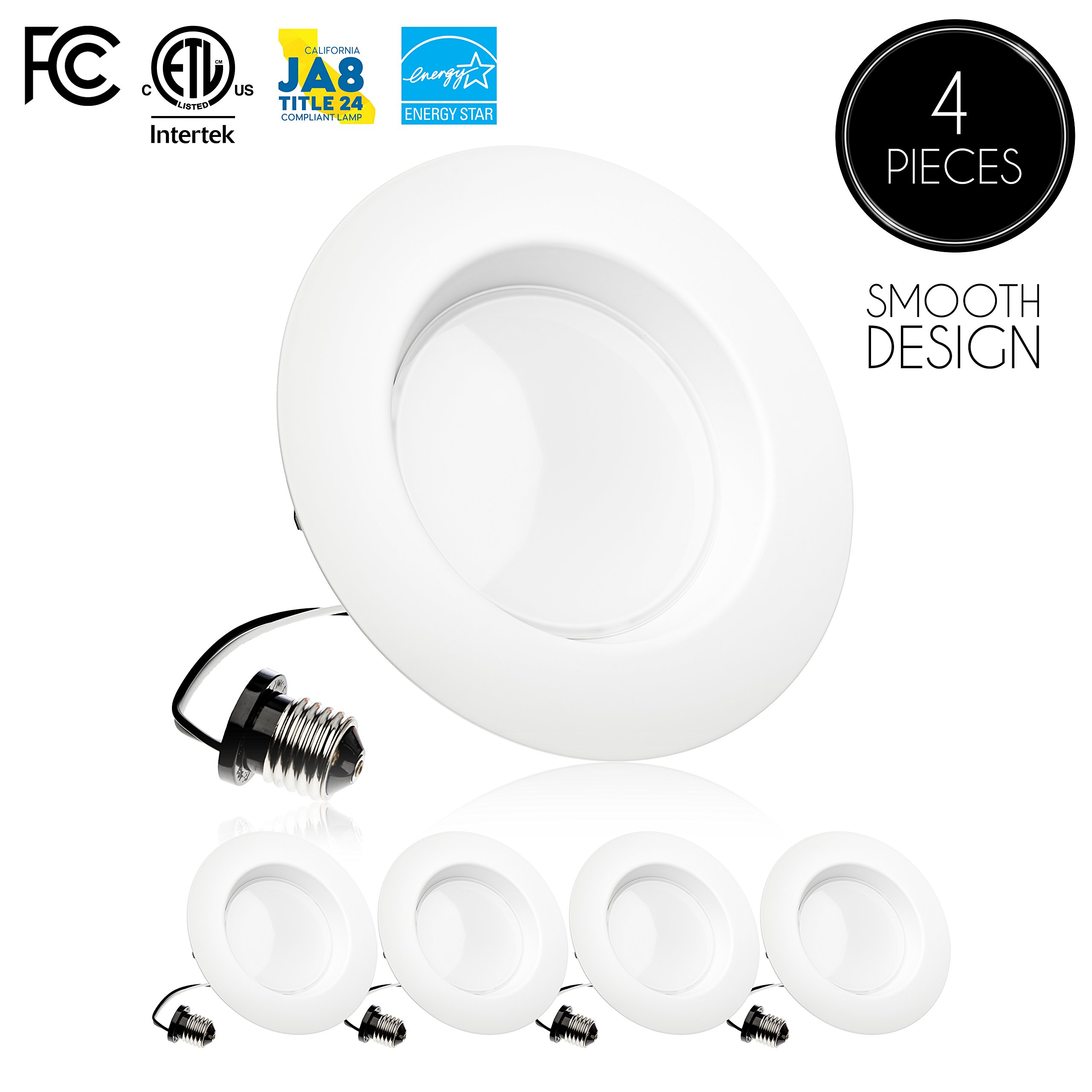 Parmida (4 Pack) 5/6 inch Dimmable LED Downlight, 15W (120W Replacement),EASY INSTALLATION, Retrofit LED Recessed Lighting Fixture, 3000K (Soft White), 1100Lm, ENERGY STAR & ETL, LED Ceiling Can Light