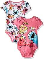 Sesame Street Baby Girls' Multi Character 2 Pack Bodysuit Layette Set