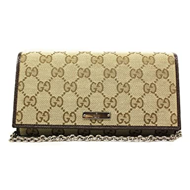 252467cad19 Gucci Women s GG Logo Brown Leather and Canvas Chain Wallet at ...