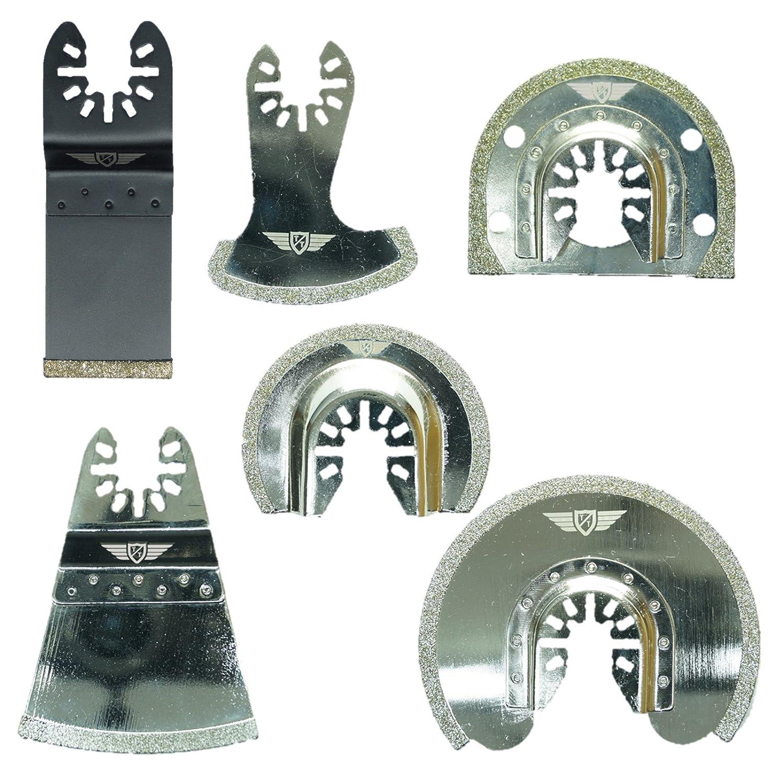 6 x TopsTools FAKD6 Fast Fit Diamond Grout Blades for Dewalt, Stanley, Black and Decker, Bosch, Fein Multimaster, Multitalent, Makita, Milwaukee, Einhell, Ergotools, Hitachi, Parkside, Ryobi, Worx (Fast Change), Workzone Multitool Multi Tool Accessories
