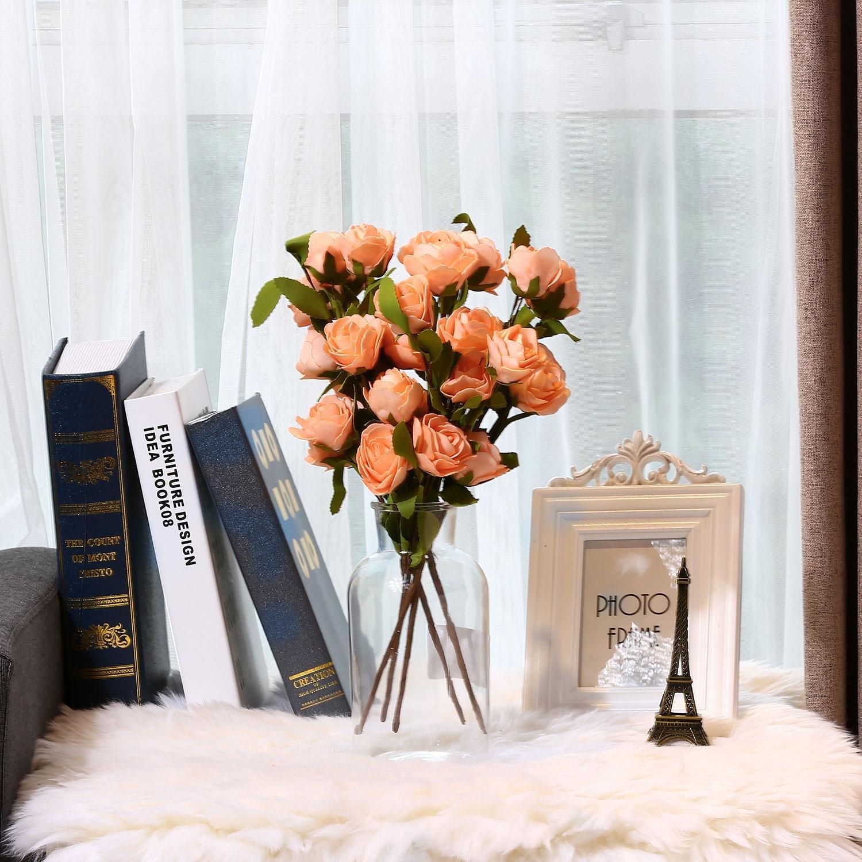 SOLEDI 6 Heads Roll Heart Roses Foam Flower Arrangement Artificial Wedding Deco -5 Bundles (Champagne)