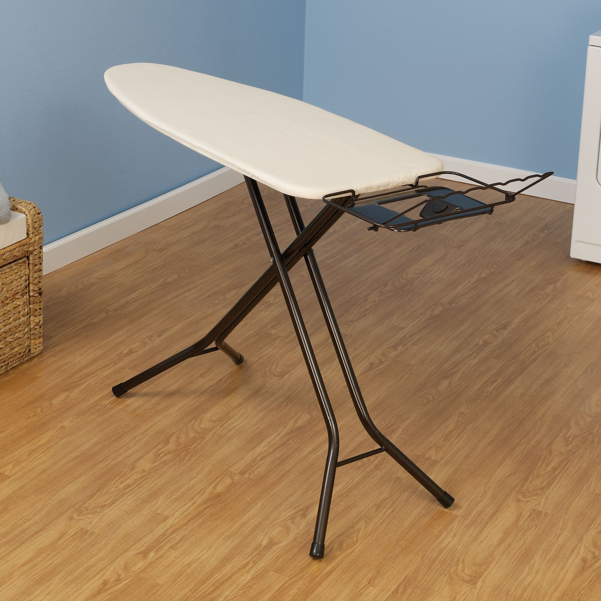 Household Essentials 974406-1 Extra Wide Top 4-Leg Large Ironing Board | Natural Cotton Cover and Iron Holder Stand | Bronze by Household Essentials
