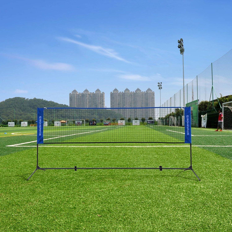SONGMICS di Lunghezza Rete da Tennis Badminton Portabile Pieghevole Altezza Regolabile 107-155 cm