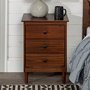 WE Furniture Mid Century Modern Nightstand Wood End Side Table, Walnut
