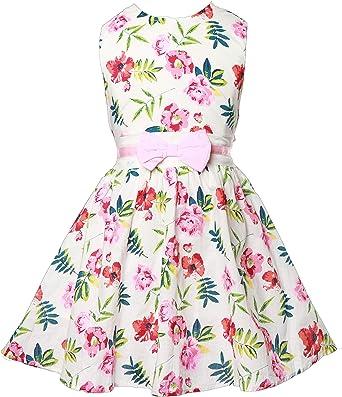Girls Summer Dress Flowers Multi Coloured Fashion Kids Dress Waist Ribbon Belt