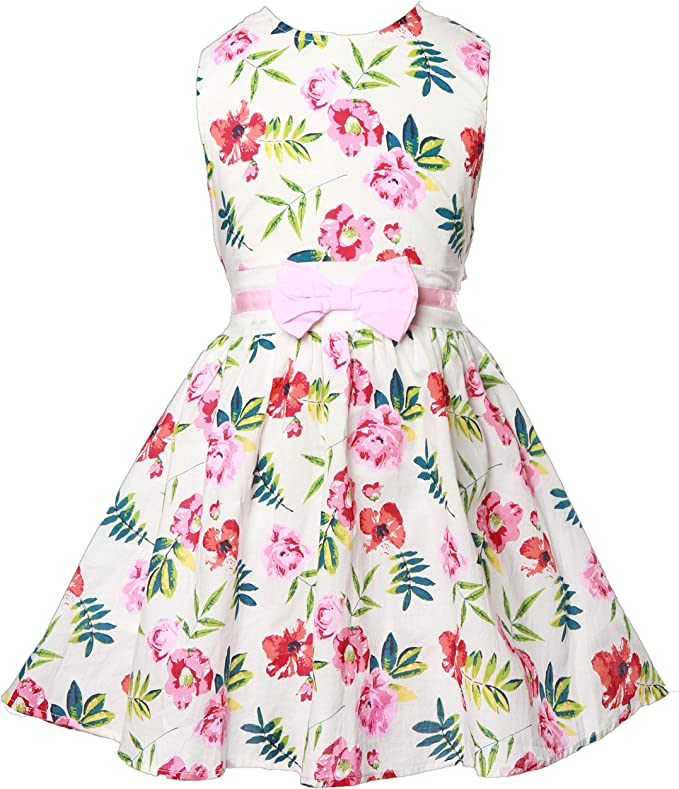 Amazon Com Girls Dress Summer Sleeveless Kids Vintage Floral Dresses Casual Sundress Toddler Clothes Size 2 9 Years Clothing