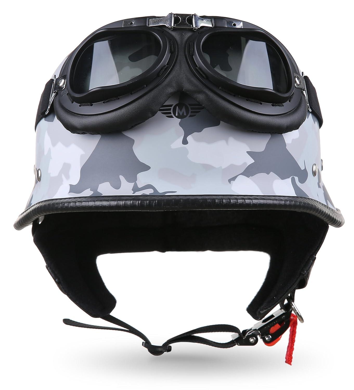 /S/ / Moto /XXL /Chopper Motorbike Helmet Vintage Scooter Helmet Scooter Moped/ D33/SetArmy Snow 63-64/cm Grey//White /Jet/