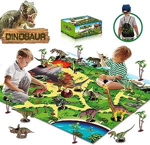 unanscre30Pcs Dinosaur Toys for Kids, Activity PlayMatw/ Trees, RealisticDinosaurFigures&Eggs, Xmas Gifts for Boys/Girls Age 3, 4, 5, 6, 7, 8